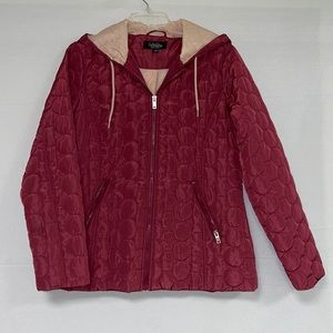 Coffee Shop New York Women Quilted Hoodie Jacket L